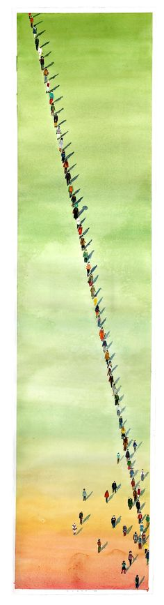 """Walkers III"", watercolor on paper, 14.5"" x 53"", 2013 Rob Sato"