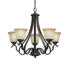 Shop Portfolio Danrich Marina 5-Light Black Bronze with Red Chandelier at Lowes.com