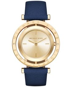 7c7b2235ad85 Michael Kors Women s Averi Navy Leather Strap Watch 33mm MK2526   Reviews -  Watches - Jewelry   Watches - Macy s