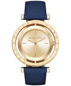 Michael Kors Women's Averi Navy Leather Strap Watch 33mm MK2526