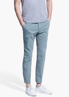 Slim-fit cotton chinos -  Men | MANGO