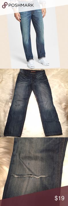 """Joe's Jeans Brixton straight jeans 29 x 27 SHORT Brixton is a Straight and narrow cut. I think the hole in the knee may be aftermarket. These look like the factory hem but must be professionally altered because they're 28"""" Inseam. Size 29. Cotton. No stretch. Joe's Jeans Jeans Slim Straight"""