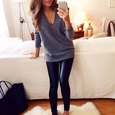 leather leggings and a cute sweater