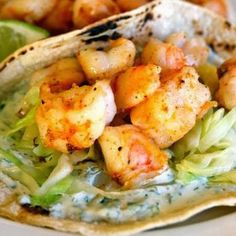 Super Simple Shrimp Tacos - I wanted to make something that was light and easy, but would not have me stuck in the kitchen for the whole game… that's when I remembered this recipe,, these are so good and so easy :)