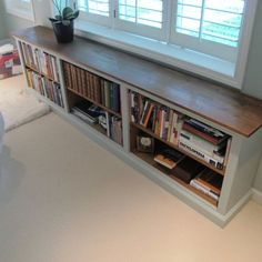 Long, low profile bookshelf. i would add a foam seat to the top.