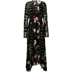 Preen By Thornton Bregazzi mixed print maxi dress (7.765 BRL) ❤ liked on Polyvore featuring dresses, black, stripe dresses, long maxi dresses, loose maxi dress, long sleeve dress and floral maxi dress