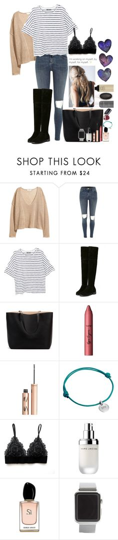 """""""Work hard sweetie"""" by youngsmile ❤ liked on Polyvore featuring H&M, River Island, MANGO, tarte, Charlotte Tilbury, Merci Maman, Marc Jacobs, Armani Beauty and Apple"""