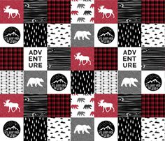 Happy Camper || Wholecloth Quilt Top - Lumberjack collection fabric by littlearrowdesign on Spoonflower - custom fabric