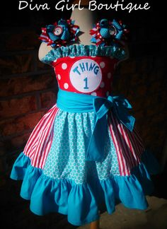 Dr Suess Thing 1 Thing 2 Birthday Outfit Boutique Girls Dress Cat in the Hat Boutique Hairbows Childrens Clothing 12m 18m 2T 3T 4T 5 6 7 8. $69.50, via Etsy.