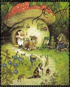 The Magic Faraway Tree: Fritz Baumgarten (German Illustrator; G Nome's Toadstool House Fantasy Kunst, Fantasy Art, Baumgarten, Mushroom Art, Mushroom House, Woodland Creatures, Fairy Art, Children's Book Illustration, Woodland Illustration