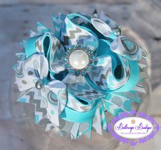 Chevron hair bow girls hair bow  turquoise and by buttercupsbows