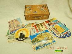 RETRO LUGGAGE LABELS! BOX OF 40+ LABELS! THE GOLDEN ERA OF WORLD TRAVEL! AS IS!