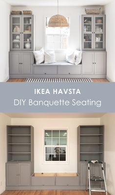 This is an IKEA HAVSTA hack for banquette seating. I'm sharing why I chose IKEA HAVSTA cabinet for this banquette seating built-in, the cost and DIY process. Ikea Built In, Built In Bench, Diy Bench Seat, Home Renovation, Home Remodeling, Banquette Seating, Dining Bench, Built In Dining Room Seating, Living Room Built Ins