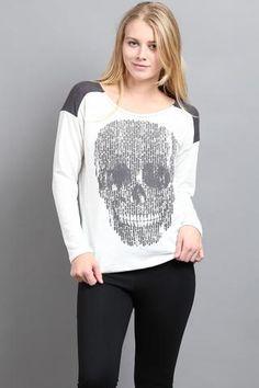 Skull Pattern Long Sleeve Sweater