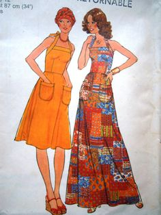 Gorgeous halter dress in a short or maxi length sewing pattern  Simplicity 1970s  Uncut  Bust 34 inches - UK Seller
