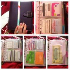 I use my daytimer not only as my #planner but as my wallet too! I love this system. It is soooo much easier for me to get my credit cards and ID badges out than it is in a regular wallet. Regular wallets were to tight and I got so frustrated with it. I got this idea from YouTube and have been in love with it since. In the second picture the blue tab says Emergency Contact info/ I.C.E (in case of emergency) Contacts. I would recommend this to any planner addict!