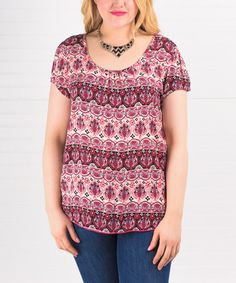 Loving this Pink Arabesque Scoop Neck Top - Plus on #zulily! #zulilyfinds