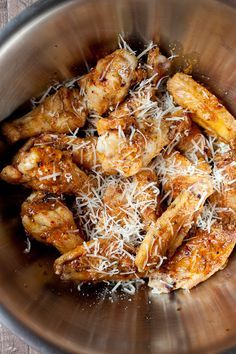 Everything you could ever want for Father's day, garlic parmesan grilled chicken wings! They are perfect for feeding a bunch of dude or just that one special dude. ;) ohsweetbasil.com