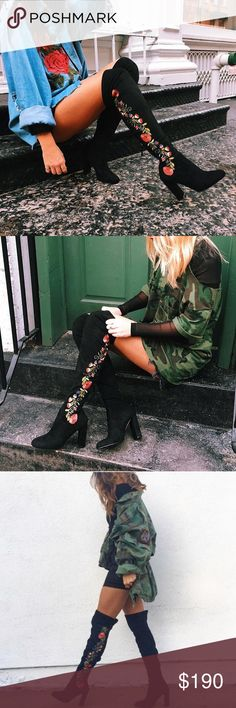 Steve Madden OTK boots New no box. Size 9. Embroidered floral design. 🙅🏻NO TRADES🙅🏻 Steve Madden Shoes Over the Knee Boots