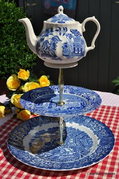 Tea Time Quirky Vintage Blue and White Cake Stand with Teapot Top