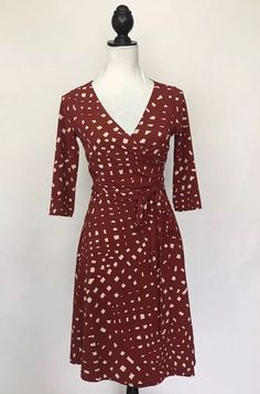 Moda International Red & White Abstract Print 3/4 Sleeve Wrap Dress M #ModaInternational