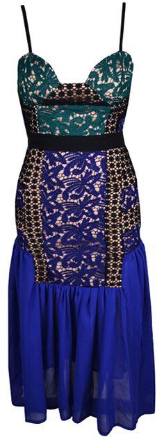 Lace chiffon cocktail dress. Run true to size.