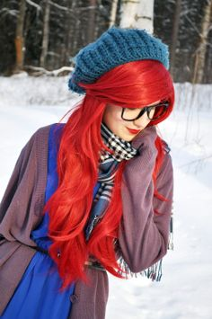 Hipster Ariel. I LOVE the wintery look