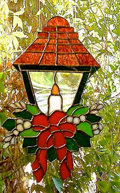 Heirloom Christmas Victorian Lantern Window Hanging by glassmagic, $45.00