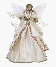 Bloomingdales Angel Tree Topper 18 inches Gold Ivory Feather >>> This is an Amazon Affiliate link. More info could be found at the image url.
