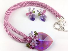 Amethyst Crystal kumihimo Jewelry Antique Mauve by PastelGems, £68.00