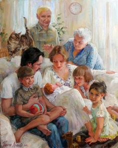 Family gathering [official title unknown] -- by Polina Luchanova (b.1977, Russian: Nizhneudinsk Irkutsk Region)