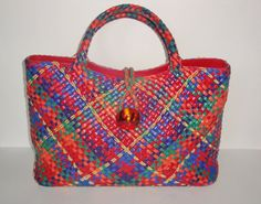 SHARIF Woven Leather Handbag Tote, Red Green, Blue, Orange, Gold Metallic, Satchel Purse. $55.00, via Etsy.