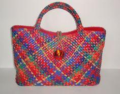 SHARIF Woven Leather Handbag Tote, Red Green, Blue, Orange, Gold Metallic, Satchel Purse. $55.00, via Etsy.
