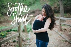 A stylish top for mom, cozy pouch for baby, and nursing bra all-in-one.