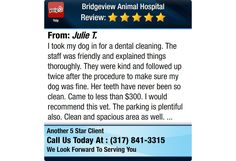 I took my dog in for a dental cleaning. The staff was friendly and explained things...