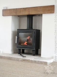 Bergen wood burning stove from Nordpeis - contemporary oak lintel and limestone hearth - The Paper Mulberry: My New Home My Living Room, Home And Living, Living Spaces, Wood Burner Fireplace, Log Home Decorating, Sweet Home, Log Burner, Fireplace Design, Fireplace Ideas