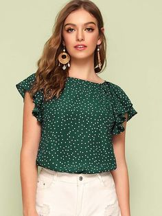 Shein Tie Back Flutter Sleeve Polka Dot Blouse Sexy Blouse, Blouse Outfit, Casual Outfits, Fashion Outfits, Summer Blouses, Polka Dot Blouse, Flutter Sleeve, Indian Wear, Types Of Sleeves