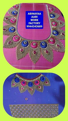 Hand Work Blouse Design, Simple Blouse Designs, Bridal Blouse Designs, Saree Blouse Designs, Embroidery Patterns, Hand Embroidery, Maggam Works, Sleeve Designs, Mehndi Designs
