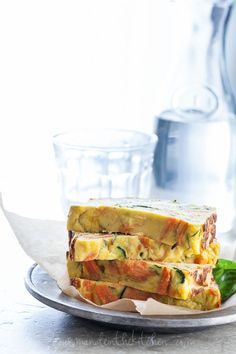 A savory summer squash, zucchini and carrot loaf  that's a cross between a frittata and a terrine. #vegetarian #paleo #gluten-free on gourmandeinthekitchen.com