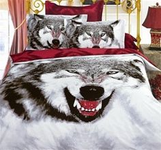 Wolf Bedding Set - this is awesome! For my son Brian 3d Bedding Sets, Queen Size Bedding, Beautiful Bedding Sets, Wolf, Bedclothes, Bedroom Colors, Bedroom Ideas, Duvet Cover Sets, Comforters