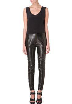 Augustin Teboul Pantalon de cuir noir
