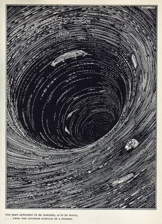 "Illustration by Harry Clarke for Edgar Allen Poe's short story ""A Descent into the Maelström"", 1919 [The boat appeared to be hanging, as if by magic, ... upon the interior surface of a funnel]"