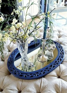 Have an old mirror? Paint it your favorite color and use it as a decorative tray. #diy #traystyling #homedecorating #paintedfurniture #fixerupperstyle #homedesigner #avana_design_interiors