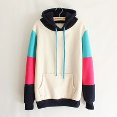 Mixed Colors Hooded Sweater. I have this! Soooo warm and cozy.