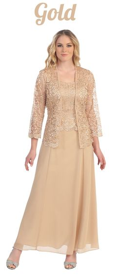 Long Chiffon Gold Mother of Groom Dress Lace Long Sleeve Jacket (9 Colors Available)