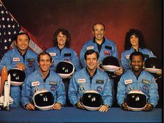reagans reaction to challanger explosion | The crew of the doomed Challenger space shuttle [Left to Right-Front ...