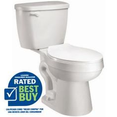 $99.00 AquaSource White 1.28 GPF High Efficiency WaterSense Elongated 2-Piece Toilet Item #: 98923    Model #: AT1203-00 •EPA WaterSense certified, high-efficiency 1.28 GPF - saves water and money.  Depth (Inches)29.9  Width (Inches)18.5 Assembled Height (Inches)32.25