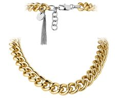 """Gold """"Fundrina"""" necklace. Duo colour chain necklace with tassel detail."""