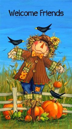 """PANEL Welcome Friends - Scarecrow Man with Crow Perched on the Shoulder on Blue Background with """"Welcome Friends"""" in Big Letters at the Top N 20596-44"""