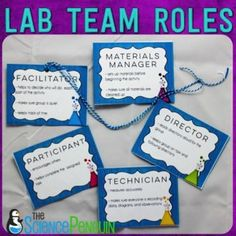 Science Lab Team Roles-- free printable cards and posters and a video to explain how I use them